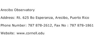 Arecibo Observatory Address Contact Number