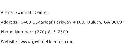 Arena Gwinnett Center Address Contact Number
