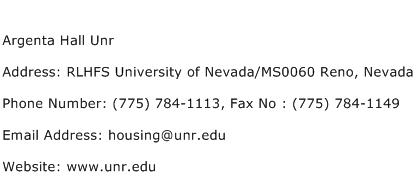 Argenta Hall Unr Address Contact Number