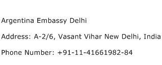 Argentina Embassy Delhi Address Contact Number