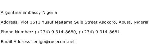 Argentina Embassy Nigeria Address Contact Number