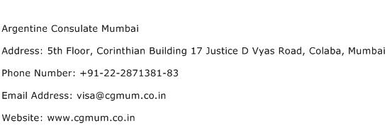 Argentine Consulate Mumbai Address Contact Number