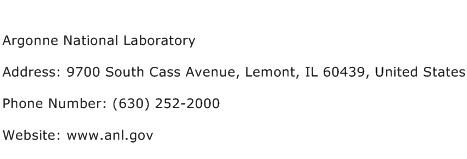 Argonne National Laboratory Address Contact Number