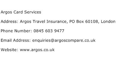 Argos Card Services Address Contact Number