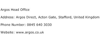 Argos Head Office Address Contact Number