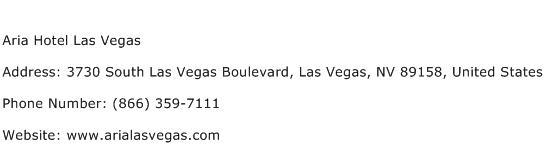 Aria Hotel Las Vegas Address Contact Number