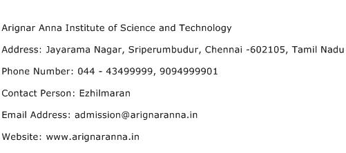 Arignar Anna Institute of Science and Technology Address Contact Number