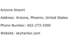 Arizona Airport Address Contact Number