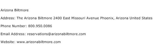 Arizona Biltmore Address Contact Number
