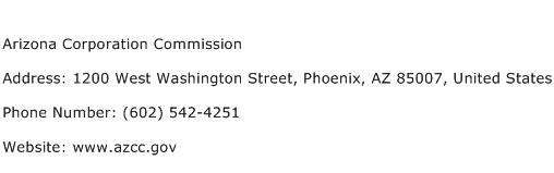 Arizona Corporation Commission Address Contact Number