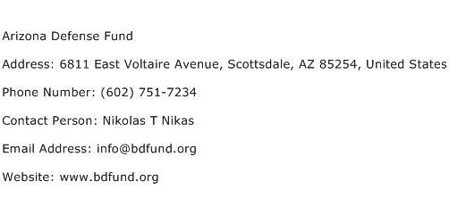 Arizona Defense Fund Address Contact Number