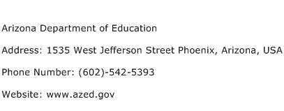 Arizona Department of Education Address Contact Number
