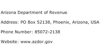 Arizona Department of Revenue Address Contact Number