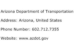 Arizona Department of Transportation Address Contact Number