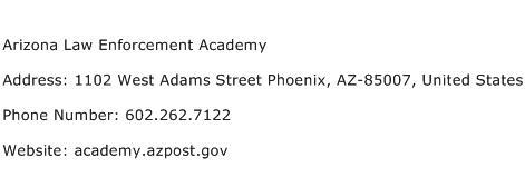 Arizona Law Enforcement Academy Address Contact Number