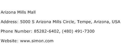 Arizona Mills Mall Address Contact Number