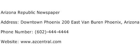 Arizona Republic Newspaper Address Contact Number