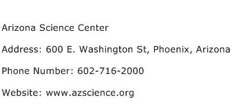 Arizona Science Center Address Contact Number