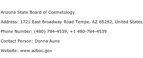 Arizona State Board of Cosmetology Address Contact Number