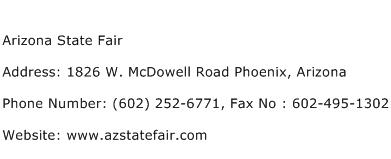 Arizona State Fair Address Contact Number