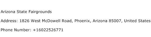 Arizona State Fairgrounds Address Contact Number