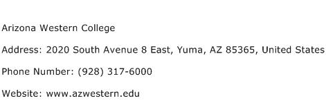 Arizona Western College Address Contact Number