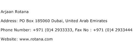 Arjaan Rotana Address Contact Number