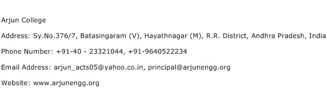 Arjun College Address Contact Number