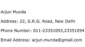 Arjun Munda Address Contact Number