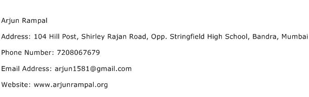 Arjun Rampal Address Contact Number