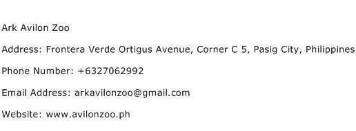 Ark Avilon Zoo Address Contact Number