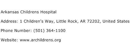 Arkansas Childrens Hospital Address Contact Number