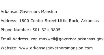 Arkansas Governors Mansion Address Contact Number
