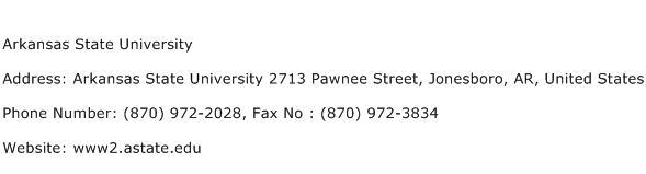 Arkansas State University Address Contact Number