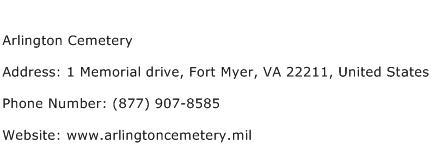 Arlington Cemetery Address Contact Number