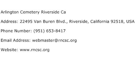 Arlington Cemetery Riverside Ca Address Contact Number
