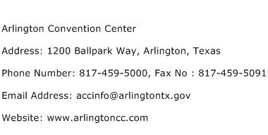 Arlington Convention Center Address Contact Number