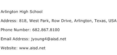Arlington High School Address Contact Number