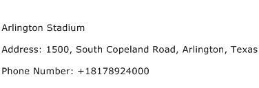 Arlington Stadium Address Contact Number