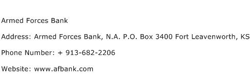 Armed Forces Bank Address Contact Number