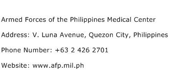 Armed Forces of the Philippines Medical Center Address Contact Number