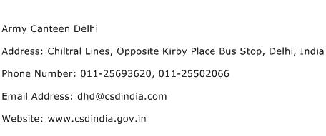Army Canteen Delhi Address Contact Number