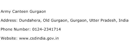 Army Canteen Gurgaon Address Contact Number