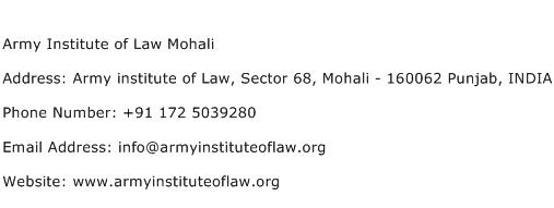 Army Institute of Law Mohali Address Contact Number