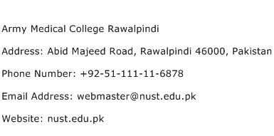 Army Medical College Rawalpindi Address Contact Number