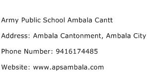 Army Public School Ambala Cantt Address Contact Number