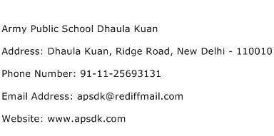Army Public School Dhaula Kuan Address Contact Number