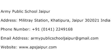 Army Public School Jaipur Address Contact Number