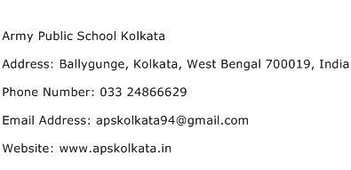 Army Public School Kolkata Address Contact Number
