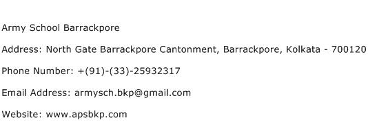 Army School Barrackpore Address Contact Number